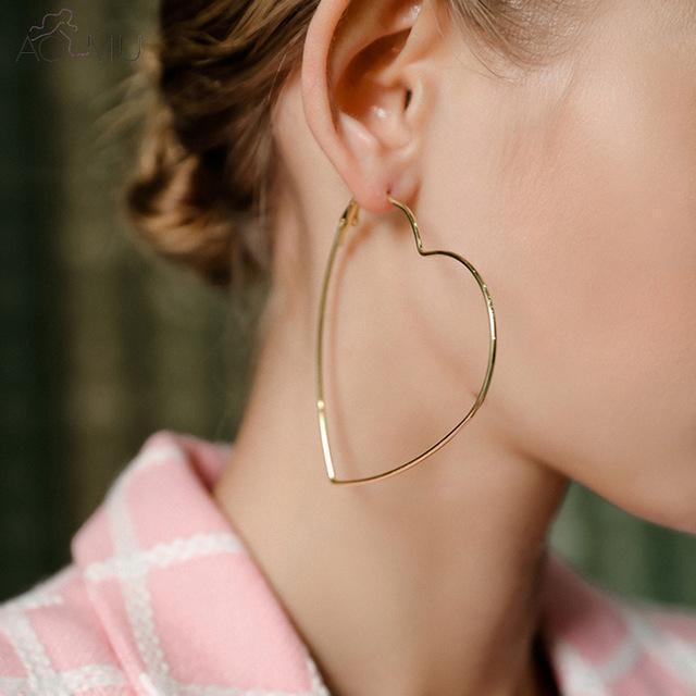 Mayforest Simple Vintage Or Love Heart Hoop boucles d'oreilles pour les femmes en acier inoxydable Big Boucles d'oreilles Déclaration d'été Bijoux de mariage