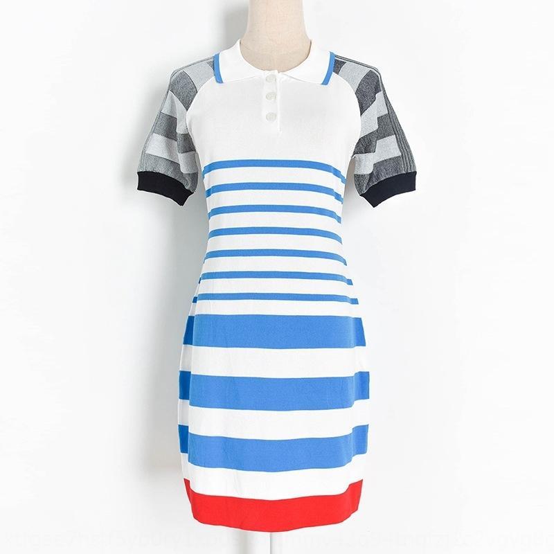 2020 estate nuovo colore di contrasto a righe manica corta PL bavero abbigliamento casual maglia W20561 delle donne vestito