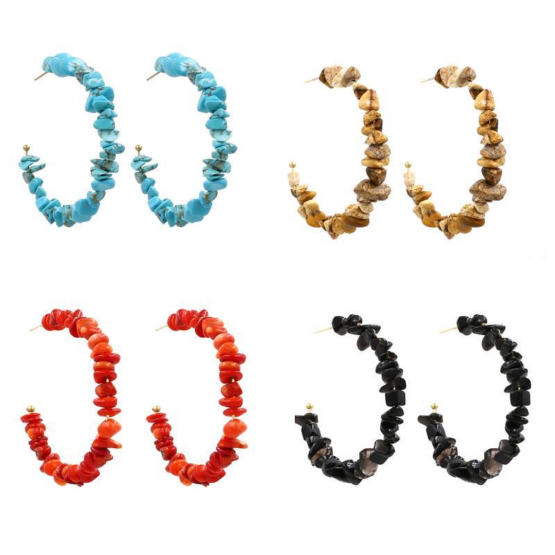 نساء بنات الفيروز كريستال الأحجار الكريمة الطبيعية أقراط بيان C الشكل مربط القرط مجوهرات مصنع السعر IE0905