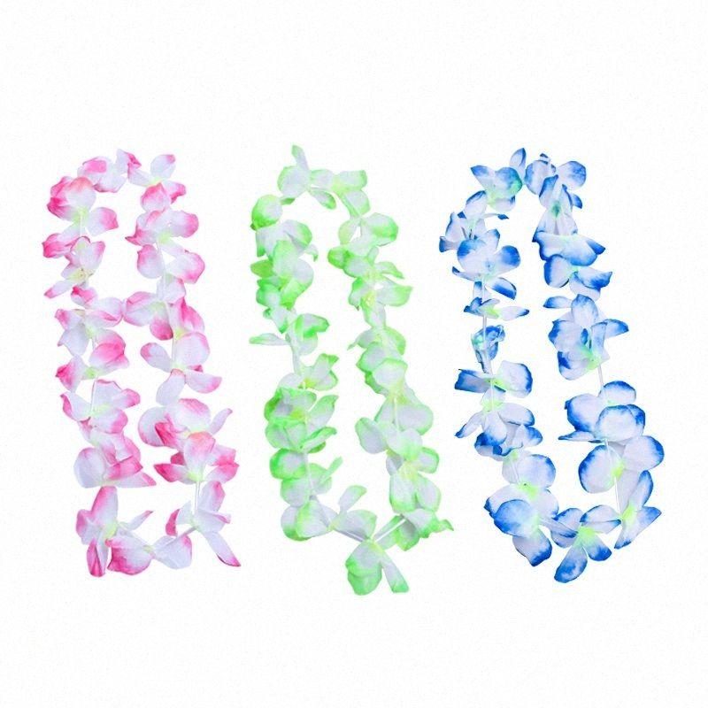 50pcs / 100pcs de Hawai Collar Hawaii tropical paño de la flor de la guirnalda de la decoración de la fiesta LAD-venta qaKf #