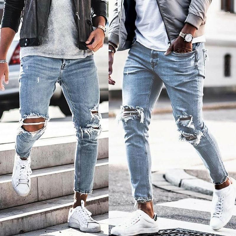 ممزق خمر جينز رجالي غسل قلم رصاص جينز موضة الملابس الداخلية أزرق فاتح مصمم رجالي جينز مع سحاب الرجال