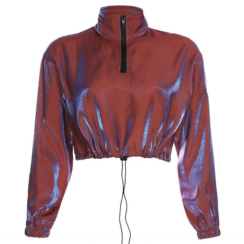 6gEuG 2020 Taille neue Art und Weise helle Pullover Silk Reißverschluss Frauen-Reißverschluss geöffnet Pullover Seide dünnes Nabelschnur Schnür-Shirt