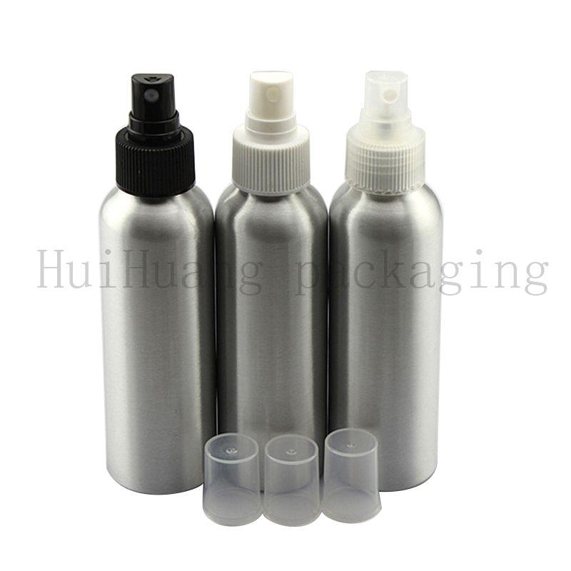 30pc 120ml esvaziar prata garrafa de pulverização de alumínio, garrafas recipientes 120cc de metal com bomba de pulverização, cosmético vazia