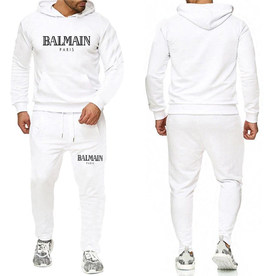 Мода письмо печати мужской балахон костюм бренд костюмы мужские хип-хоп Толстовка + Sweatpants осень зима флиса с капюшоном свитер