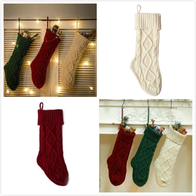 Decoração de Natal Meias de Natal malha Gift Bag Lareira Decoração Meias Ano Novo Doce presentes do Titular 3 cores