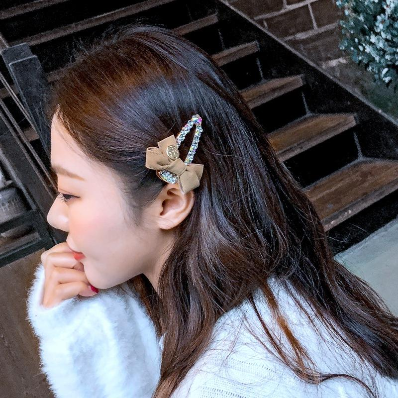 Korean New Velvet Bow hairpin simple and versatile lovely color diamond edge clip ins bangs clip wholesale