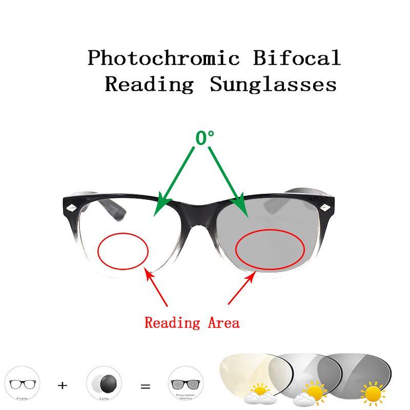 2020 Rivets bifocale photochromique Lunettes de lecture pour les femmes presbytie Lunettes Hommes Outdoor Driving Lunettes loupe