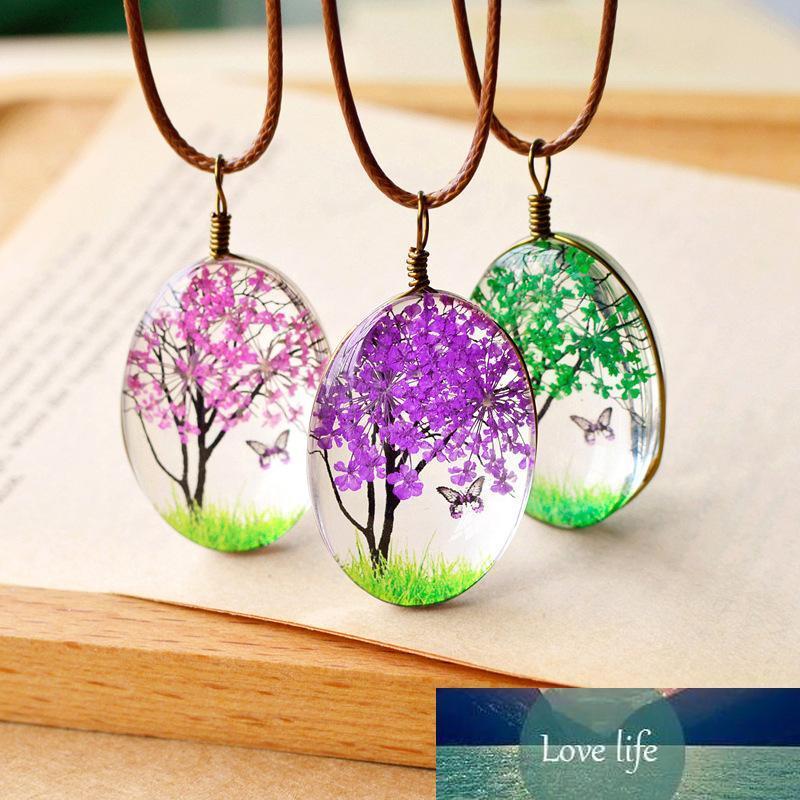 5 * ЦВЕТ New Natural Handmade сушеный цветок ожерелье стекла Подвеска цепи кожи Длинные ожерелья себе лето ювелирные изделия