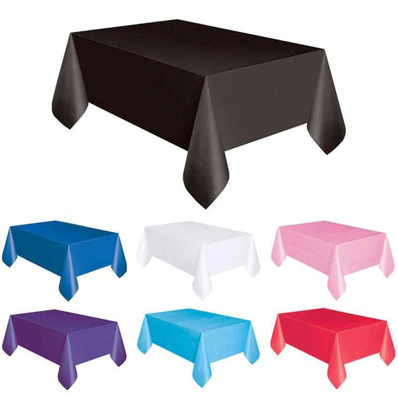 1PC 137*183cm Plastic Disposable Tablecloth Solid Color Wedding Birthday Party Table Cover