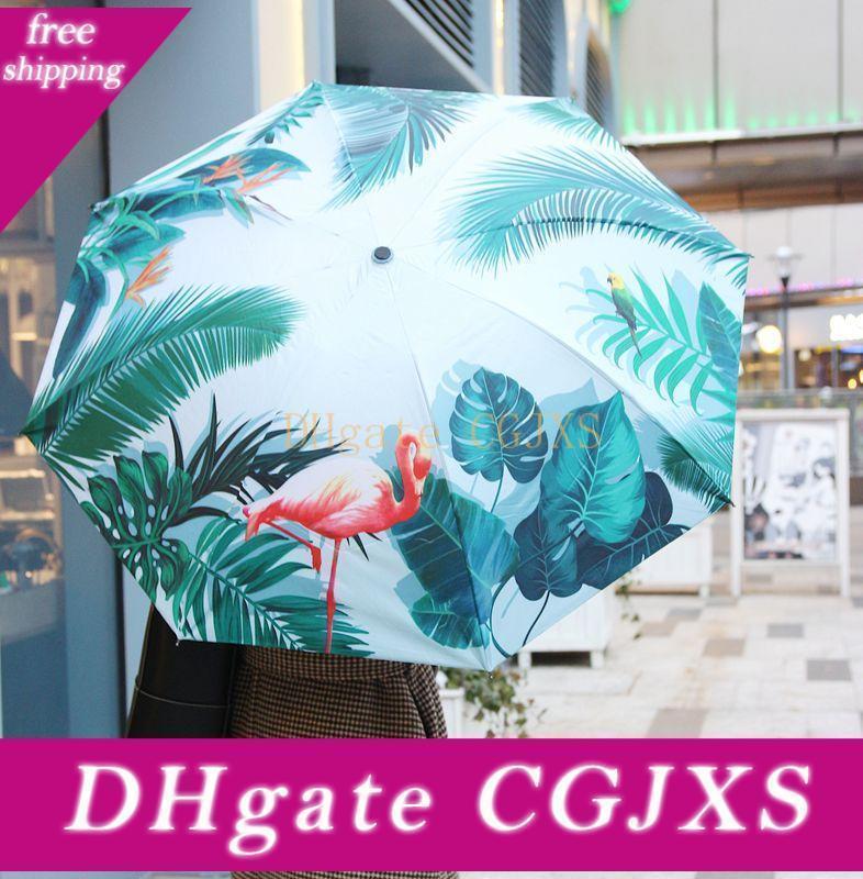 Flamingo Mini Três Dobrável bolso guarda-chuva mais espessas Preto Revestimento de pano anti -UV-chuva personalizados Tamanhos Logol E Cores