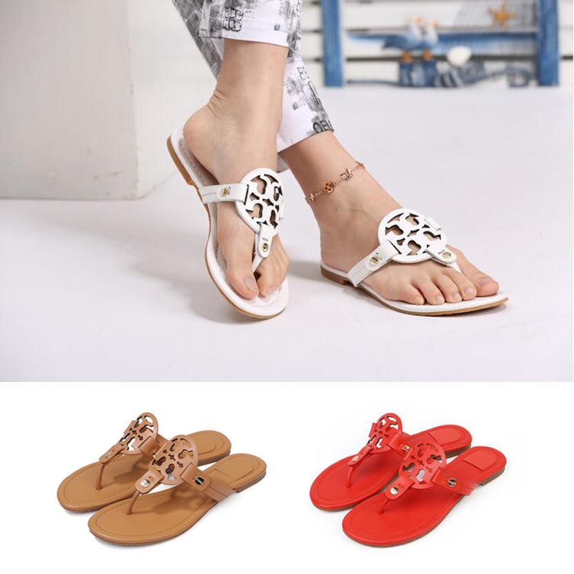 Melhor Hottest Virar Marca Mulheres fracassos 2020 Genuine Leather Lady Flat Shoes Moda flip Toe Praia sandálias