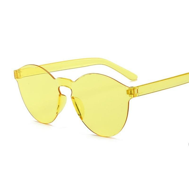 2020 الأزياء جولة نظارات المرأة خمر إطار معدني الوردي عدسة أصفر ملون الظل نظارات الشمس الإناث UV400