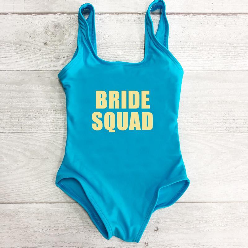 Bambini Costume intero Nuova lettera SPOSA SQUAD Swimwear ragazze del vestito di nuotata dei bambini costume da bagno estate Beach Wear maillot de bain
