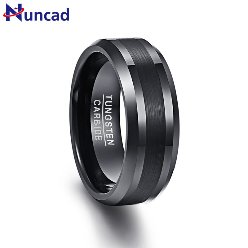 wholesale 8mm Tungsten Carbide Ring Black Wedding Engagement Band Brushed Center Men's Ring Beveled Edge Comfort Fit Size 7-12