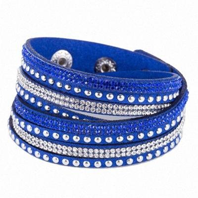 Frauen Kristall Strass Slake Deluxe-Leder-Verpackungs-Armband-Stulpe-Punkarmband-Armband-Fit-Partei-bestes Geschenk 15 Farben USi8 #