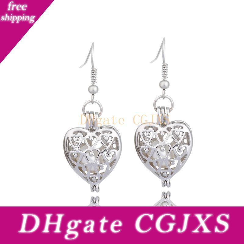 Moda tono de plata del amor del corazón de la perla de la jaula colgante Pendientes Multa hueco Locket ostra perla de la joyería para las mujeres de San Valentín, regalos del día de S