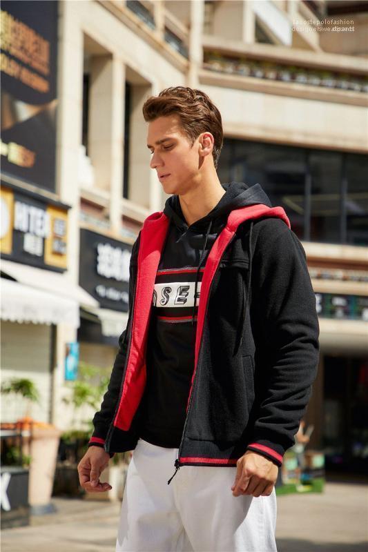 Пальто Mens Casual Zipper Fly Толстовка Mens конструктора Кардиган Толстовка мода дряблой Толстые