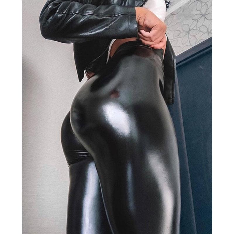 Women Faux Leather Slim Leggings Yoga Pants Stretchy Push Up Skinny Tights Slim and fit design high elastic comfortable wear #A