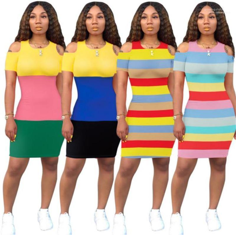 Ladies Dresses Summer Casual Womens Apparel Panelled Colorful Womens Designer Dresses Striped Printed Skinny O Neck Sexy
