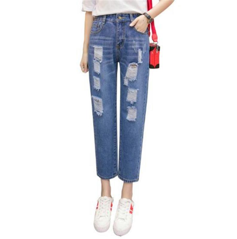 2020 taille haute Pantalons simple cheville longueur nouveau trou Bouton de poche en vrac Adoucisseur droite Zipper Ripped Femme Jeans
