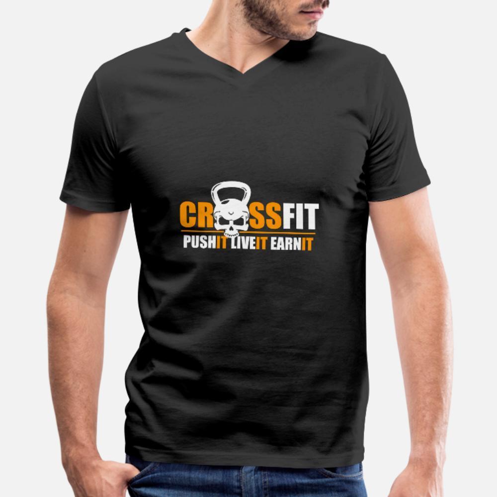 Cross Fit Push It Live It Заработать тенниска мужчин Проектирование хлопок размер S-3XL Family Fit Смешной летний Формальная рубашку