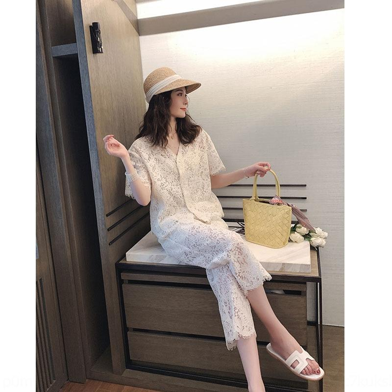 hmmkn RPKzg Sehr Fee zweiteilige Nische im westlichen Stil Spitze Anzug für Frauen 2019 neue Licht reif Spitze breit Häkeln breites Bein sui Beinhosen Französisch
