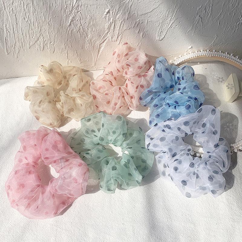 Hairlyah colorato delle ragazze delle donne Grande corda Intestino Capelli banda Organza capelli Dot elastico del Ponytail Scrunchies Ornament Accessori