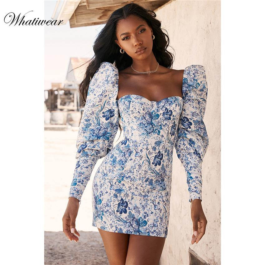 Whatiwear 2019 Summer Mini vestido de la impresión vestido de fiesta de la flor de Calle partido de tarde de las mujeres vestido de la manga de soplo Vestidos de Fiesta