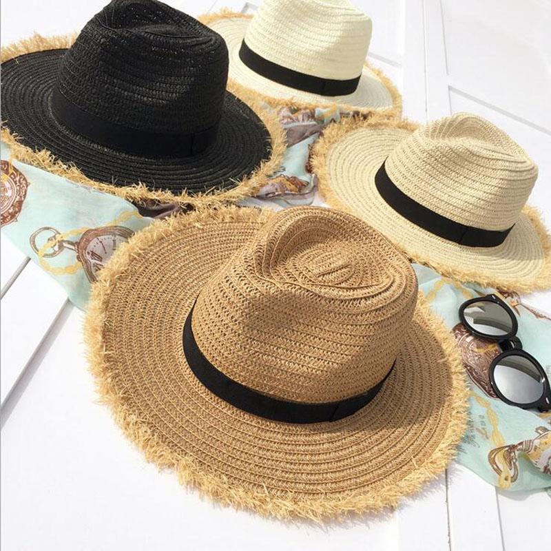 2020 Yeni Kadın Doğal Geniş Brim Burr Rafya Hasır Şapka Fringe Kadınlar Düz Büyük Plaj Yaz Güneş Big Straw Cap chapeau Caps