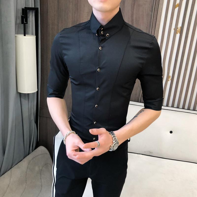 Британские рубашки Стиля для мужчин Мужской моды Одежда 2020 Летней Половина рукава мужчины Повседневного Slim Fit Camisas пункт Hombre 3XL-М CX200825