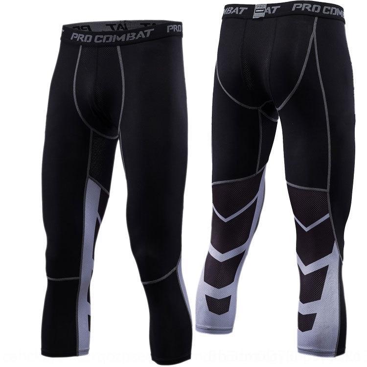 los deportes de baloncesto bDhya ejecutan transpirable polainas Deportes pantalones apretados de los hombres de pantalones ajustados formación de secado rápido estiramiento de la aptitud de siete p 56MJ8