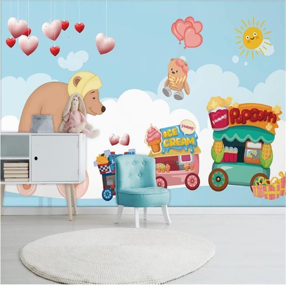benutzerdefinierte Größe 3D Wallpaper Fototapete Wohnzimmer-Bett-Zimmer Wand Fahrrad tragen Snack Warenkorb Bild Sofa Hintergrund Tapete Vlies Aufkleber