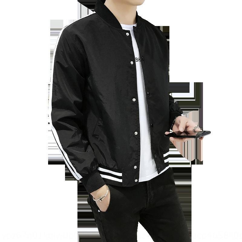 20 resorte de la nueva chaqueta de punto a rayas de color soporte chaqueta de cuello estilo coreano de los hombres chaqueta informal estudiante de moda de los hombres v4Omv