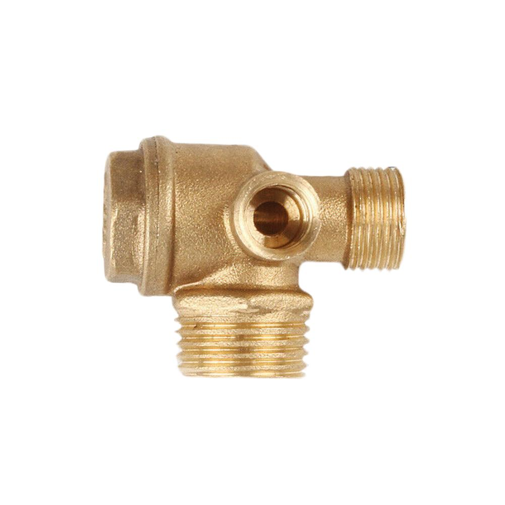 3 Way Male Tube Connector Home Non Return Check Valve Gold Tone Brass 90 Degree