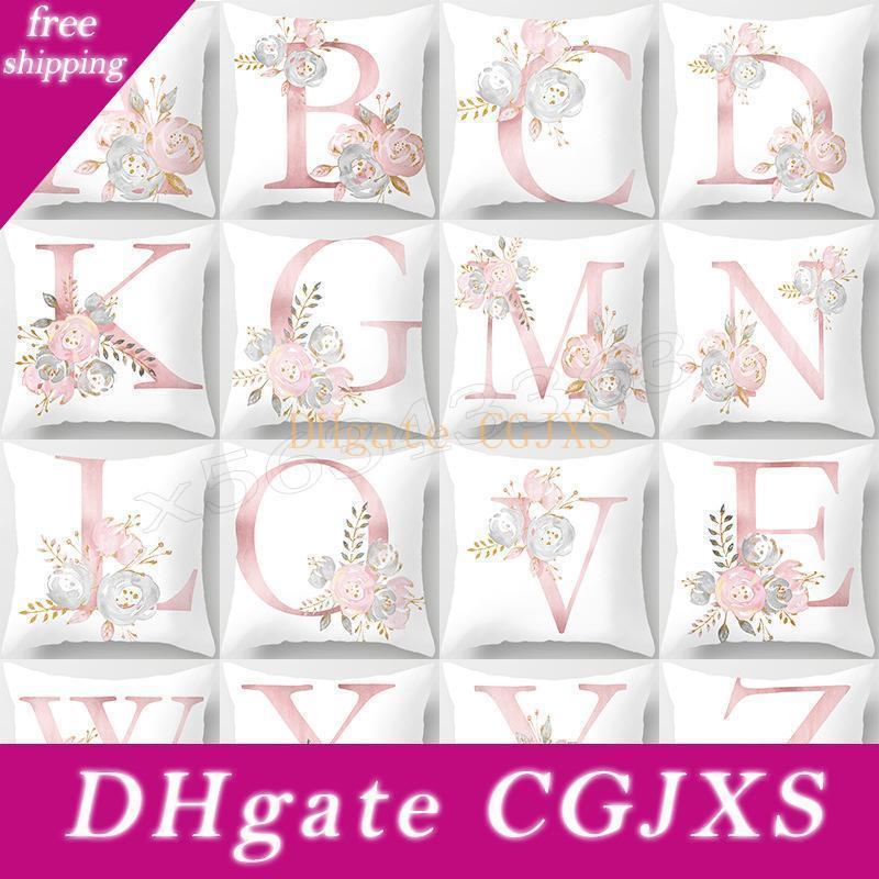 Valentine S Day Geschenk Bronzing Pillowcase 26 Letters Rosa Pfirsich-Cashmere Einfache Dekokissen Fall Car Kissenbezug Schlafzimmer Haus Dekorative