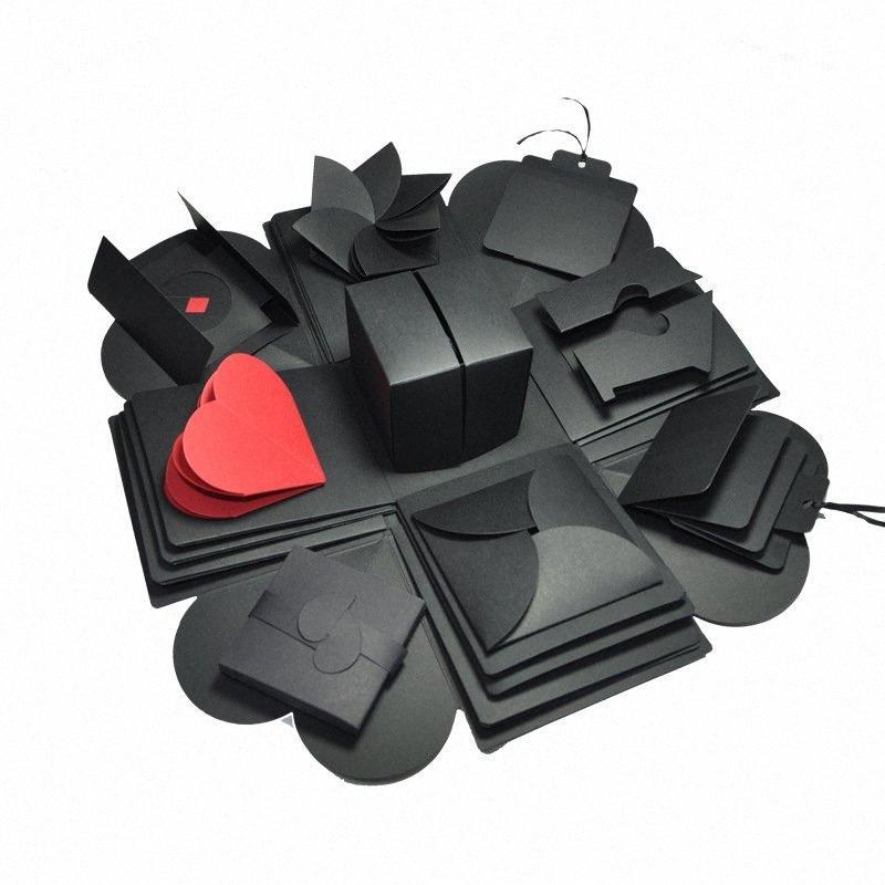 Caja de regalo creativo hexagonal sorpresa explosión caja de recuerdos DIY del libro de recuerdos para boda San Valentín 3D encima de la tarjeta T2cI #