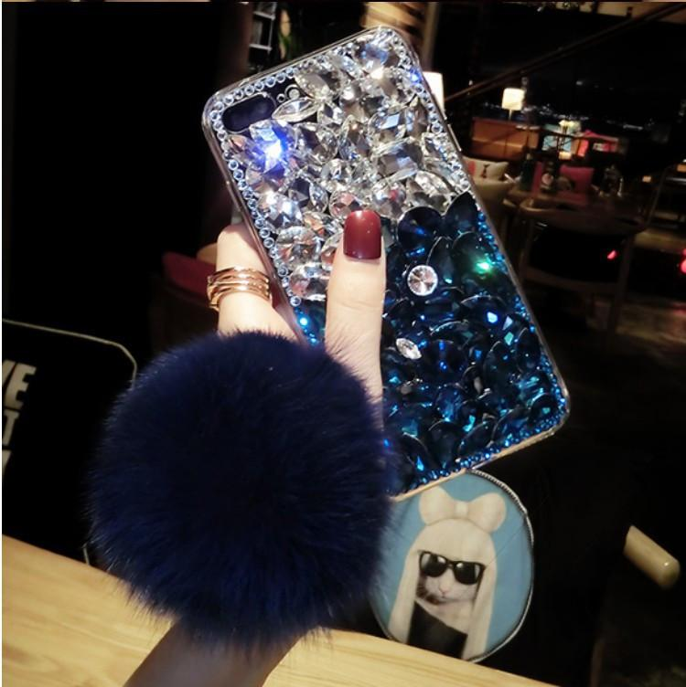 2020 New Designer Bling Kristalldiamant-Fox-Pelz-Kugel-Anhänger-Kästen für Iphone 11 Pro Max XS Max XR X 8 7 6S Plus-Samsung Galaxy S20 S10E 9 8
