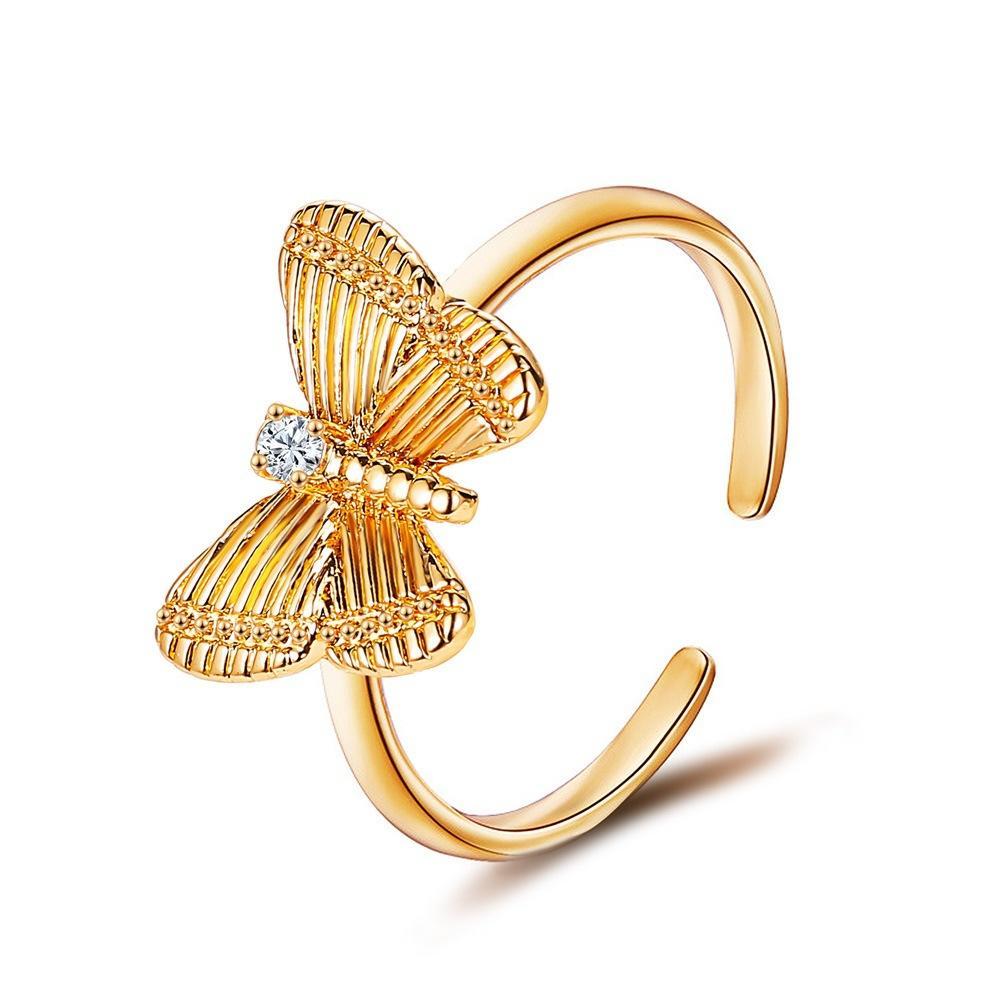 Moda plateado oro cristal mariposa punk anillo punk para mujer Rhinestone abierto anillos de dedo anillo femenino joyería regalo de fiesta