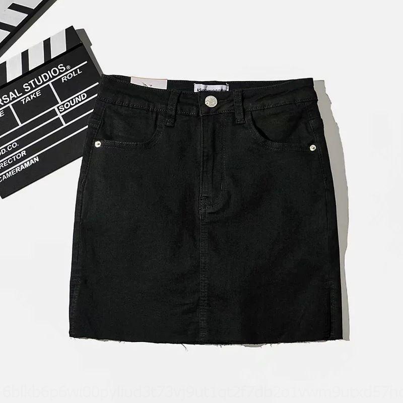 2MAdq adelgazamiento lateral dividida 9QiZd verano falda corta de mezclilla lana de hip-cubierta para las mujeres 2020 nueva cintura corta de alto atractivo lana falda