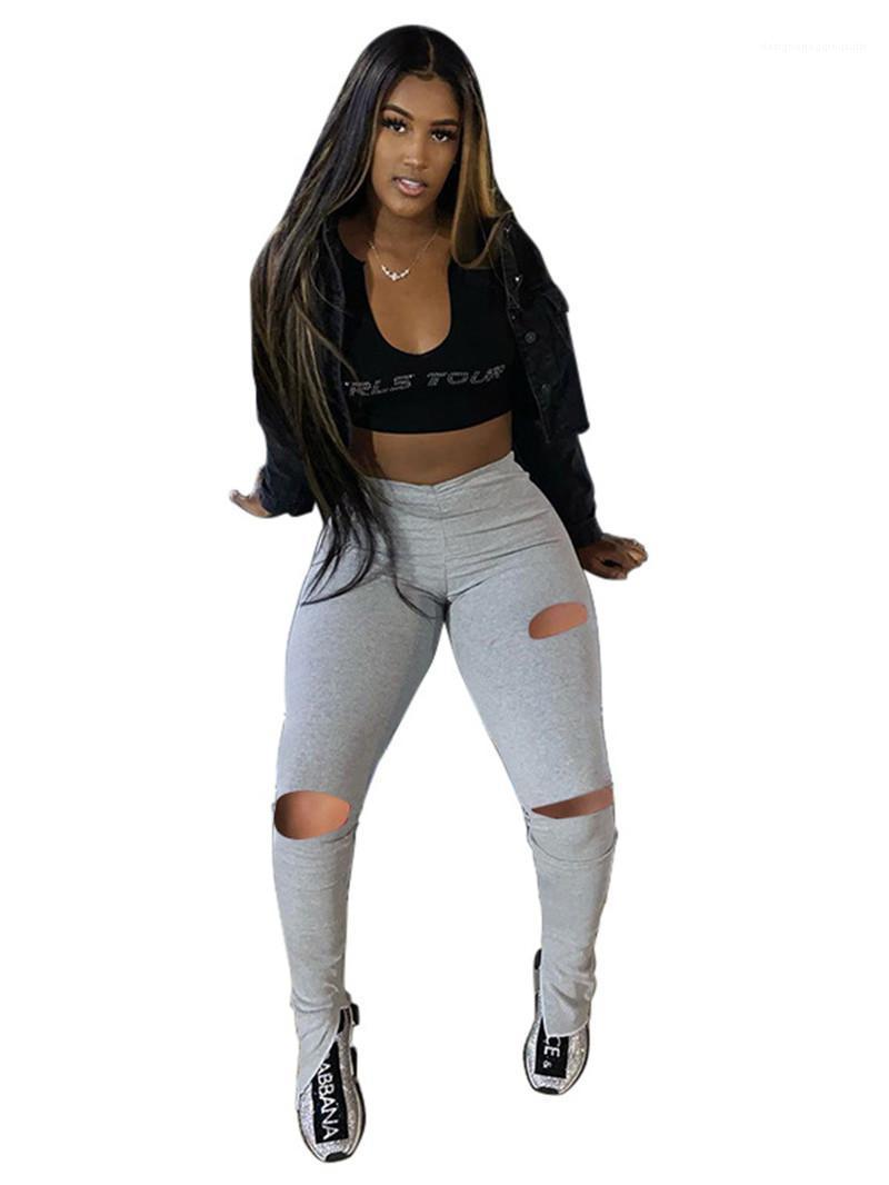 Повседневный эластичный пояс Природные цвета Брюки Женская одежда Дизайнерские женские брюки Мода Hole Щитовые штабелированные штаны