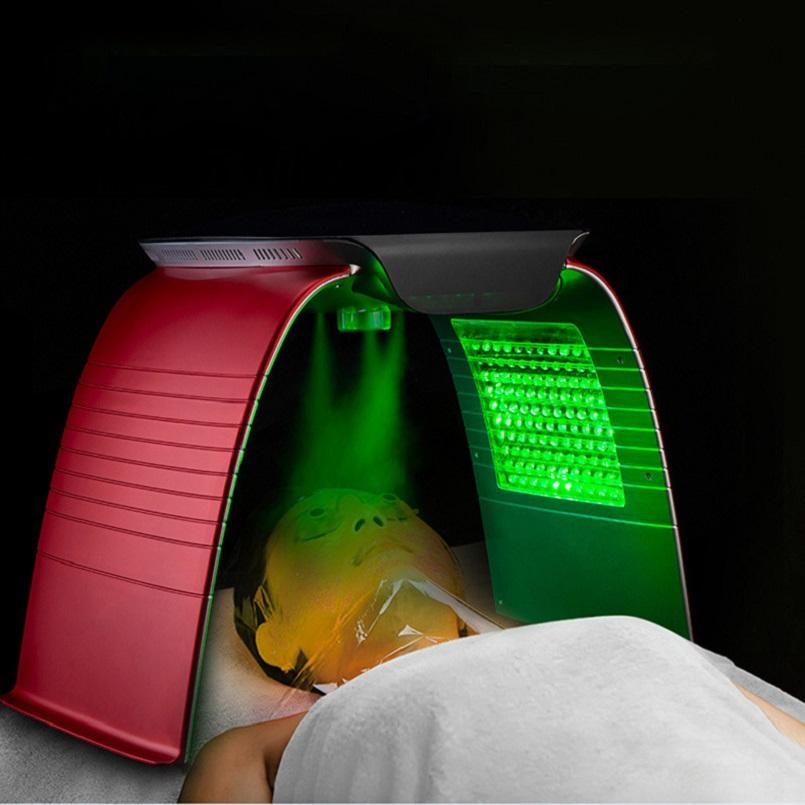 PDT 7 أضواء اللون LED العلاج الفوتون قناع الوجه لمكافحة الشيخوخة هو الرقبة الوجه العلاج تجديد شباب الجلد مع وظيفة الرش الساخنة والباردة