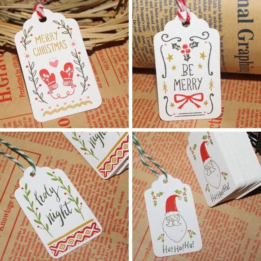 İyi Noeller DIY Kağıt Etiketler Yaratıcı Koleksiyon Kartı Mini Dize İstek Kartları Fit Hediyeler Wrap Dekorasyon Parti Favor TTA1743 FZft #