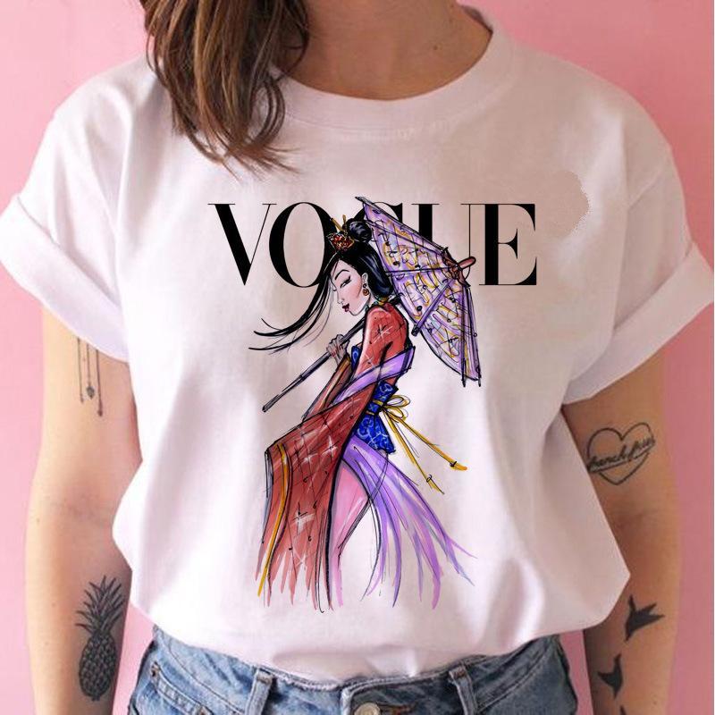 VOGUE 디자이너 의류 레이디 O 넥 T 셔츠 여름 패션 여성 T 셔츠 재미 티셔츠 하라주쿠 짧은 소매 캐주얼 티 Lovrly 96 탑 인쇄