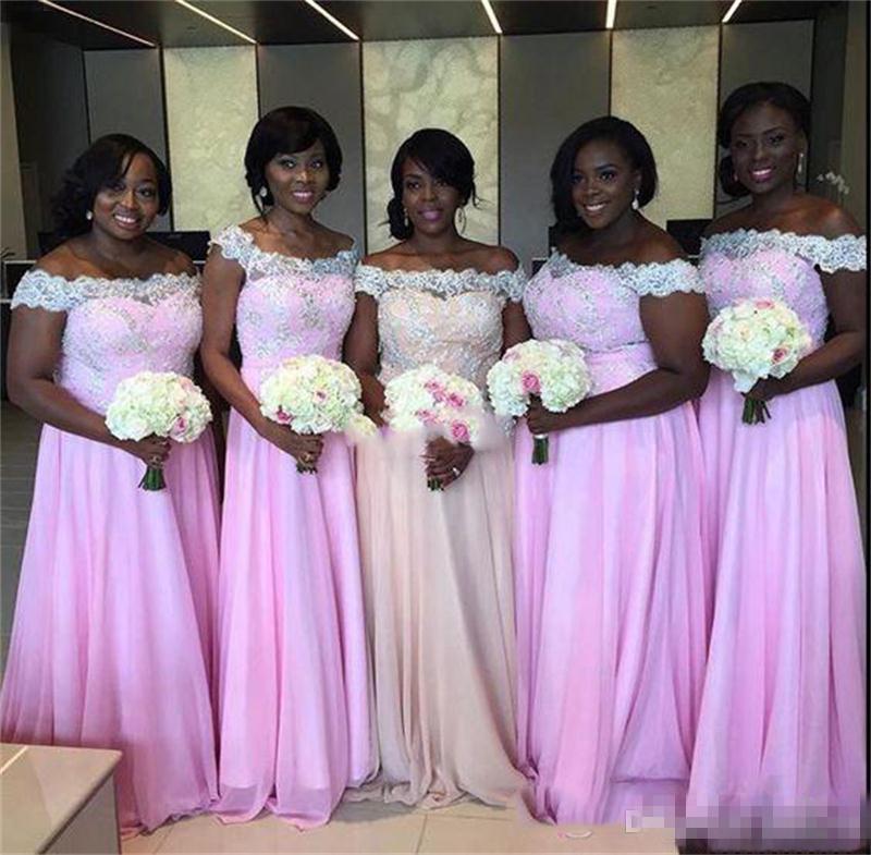 African Plus Size Brautjungfer Kleider weg von der Schulter Chiffon Trauzeugin Kleider Hochzeit Gastkleider Arabisch Vestidos Mädchen Abendkleid