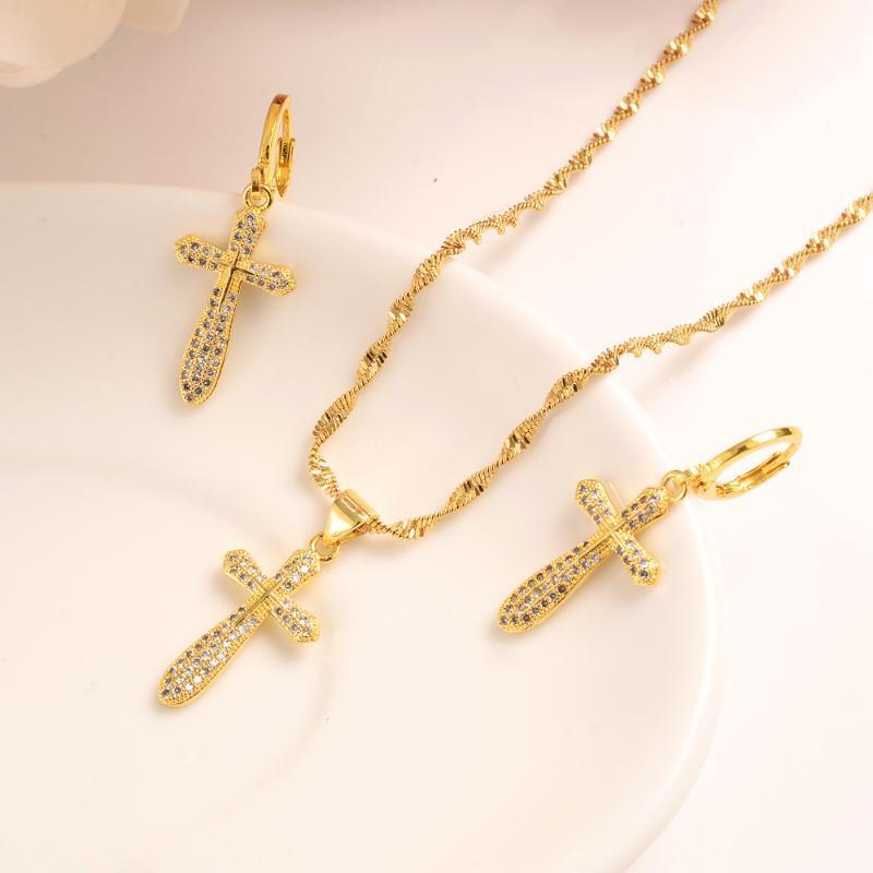 I monili Divine catena sottile CZ Collana per le donne di colore giallo Baht thailandese oro cristallo solido GF Croce intarsio bianco