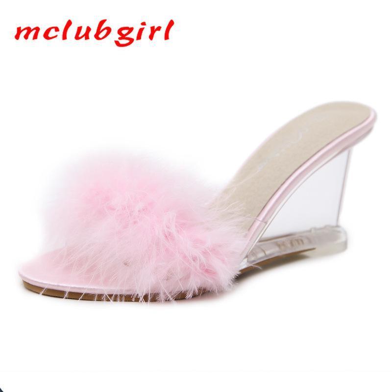 Mclubgirl 2020 Женщины Ясно Трусы новые высокие каблуки женщин лето Корейский Стиль Летняя обувь Пряжка Простой клин сандалии LFD