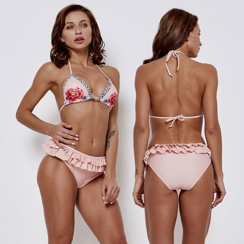 femminile Frilled Bikini Ruffle scollo profondo imbottito costume da bagno rosa Halter Bikini due insieme sexy Ragazze Costumi Costumi da bagno