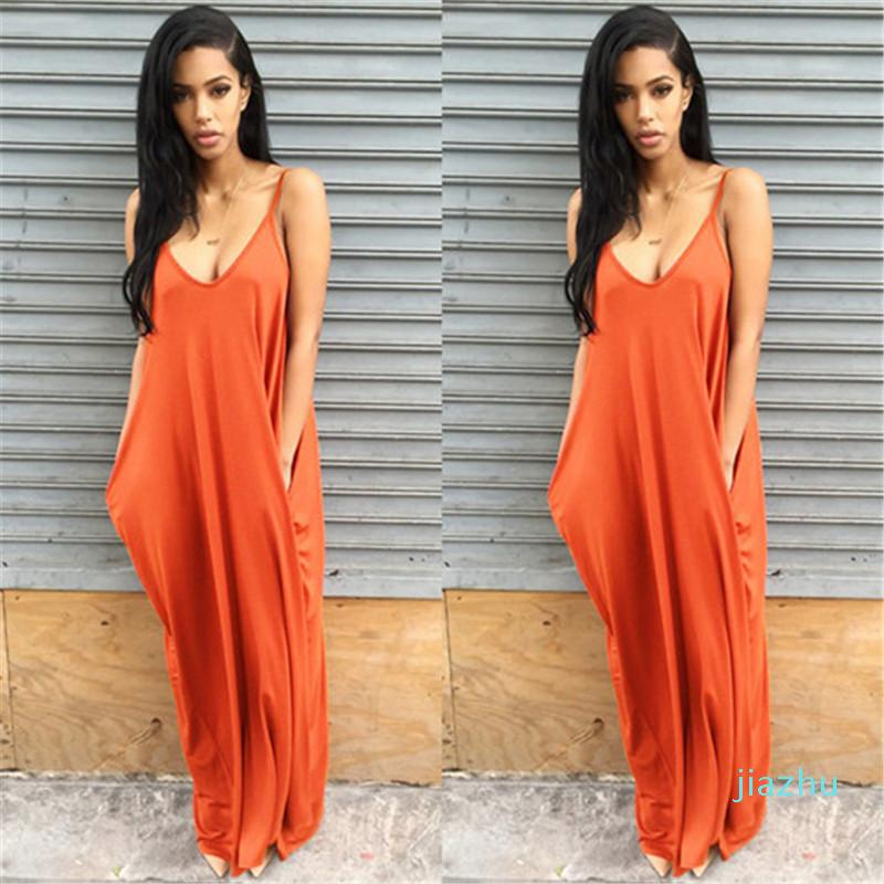 Hot Sale Deep V Neck Loose Sexy Ladies Dresses Casual Maxi Dresses with Pockets Summer Asymmetrical Womens Dresses Solid Color