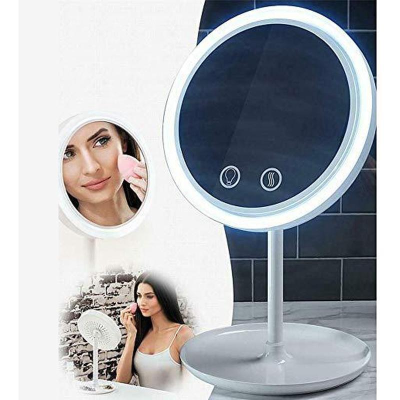3 en 1 maquillaje de la lámpara LED de la piel Mantenga Espejo Con 5X de aumento Ventilador de belleza brisa fresca del espejo cosmético escritorio de belleza con luz LED espejo DBC VT0418