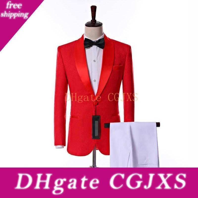 Son Tasarım Yan Vent Tek Düğme Kırmızı Paisley Şal Yaka Düğün Damat smokin Erkekler Parti Groomsmen Suit (Ceket Pantolon Kravat) K19